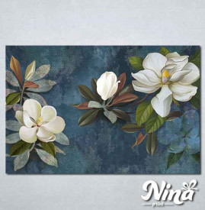 Slike na platnu Beli cvet na plavoj pozadini Nina337_P