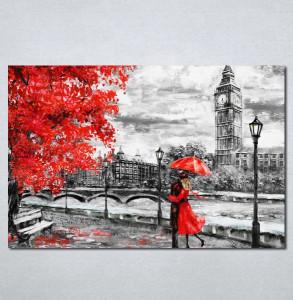 Slike na platnu crveni kisobran i haljina Nina197_P