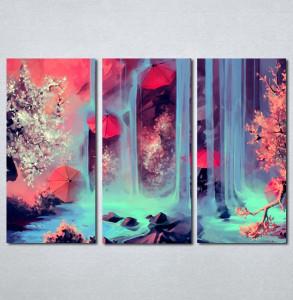 Slike na platnu Crveni kisobran i vodopad Nina204_3
