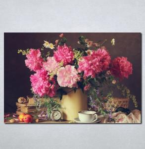 Slike na platnu Cveće u vazi i šoljica kafe Nina078_P