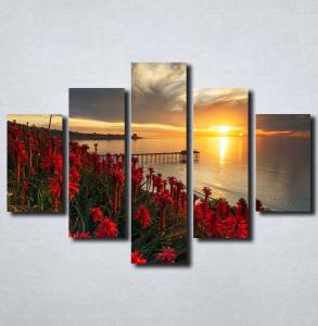 Slike na platnu Zalazak sunca i crveni cvet Nina179_5