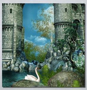 Slike na platnu Zamak i labud Nina30257
