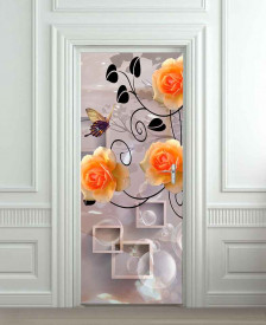 Nalepnica za vrata Narandžaste ruže 6188