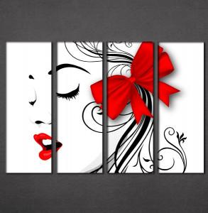 Slike na platnu  crvene usne i mašna Nina3091_4