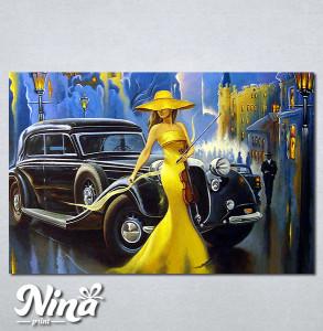 Slike na platnu Dama u žutom i violina Nina290_P