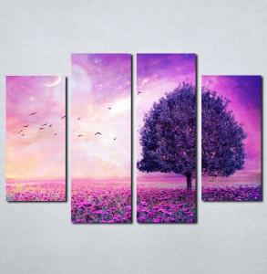 Slike na platnu Ljubičasto drvo i cveće Nina031_4