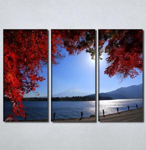 Slike na platnu Pogled na more kroz crveno lišće Nina30107_3