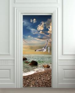 Nalepnica za vrata More i galebovi 6132
