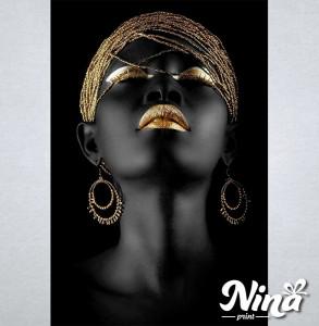 Slike na platnu Crnkinja crno zlatna slika Nina320_P