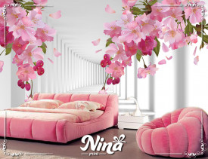 Foto tapet 3d pink cveće Tapet236