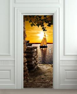 Nalepnica za vrata Jedrenjak na moru 6185