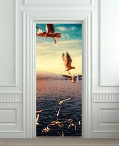 Nalepnica za vrata More i galebovi 6052