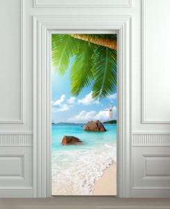 Nalepnica za vrata More i palma 6122