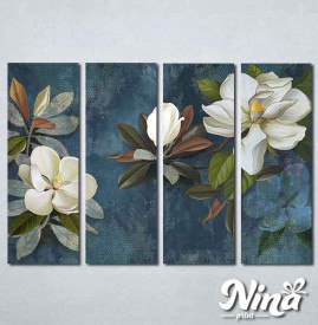 Slike na platnu Beli cvet na plavoj pozadini Nina337_4