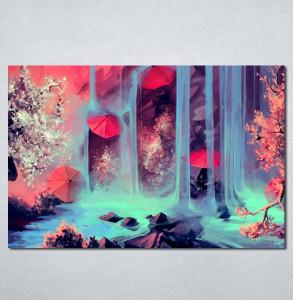 Slike na platnu Crveni kisobran i vodopad Nina204_P