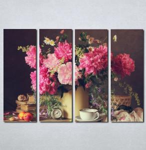 Slike na platnu Cveće u vazi i šoljica kafe Nina078_4