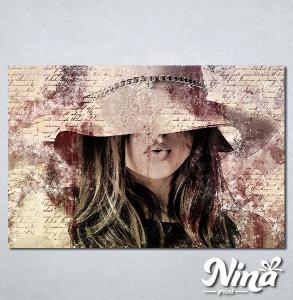 Slike na platnu Dama u šeširu Nina312_P