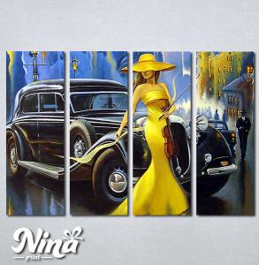 Slike na platnu Dama u žutom i violina Nina290_4