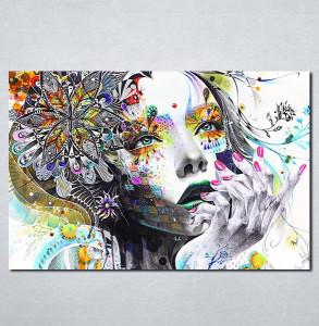 Slike na platnu Devojka boje apstraktno Nina086_P