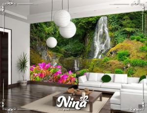 Foto tapet Vodopad i roze cveće Tapet259