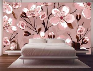 Foto tapeta naslikani beli cvet Tapet179