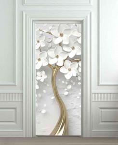 Nalepnica za vrata Belo drvo sa zlatnim stablom 6220