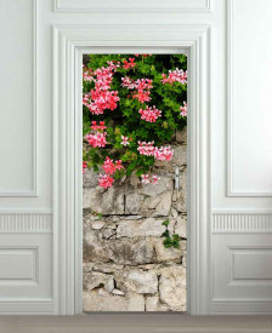 Nalepnica za vrata Cveće na zidu 6191