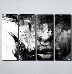 Slike na platnu Apstrakcija crno bele slika Nina162_4