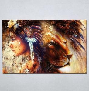 Slike na platnu Indijanka i lav Nina224_P