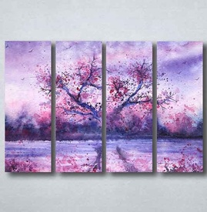 Slike na platnu Naslikano ljubičasto drvo Nina094_4