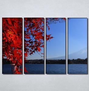 Slike na platnu Pogled na more kroz crveno lišće Nina30107_4