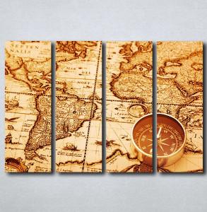 Slike na platnu Stara mapa sveta i kompas Nina163_4