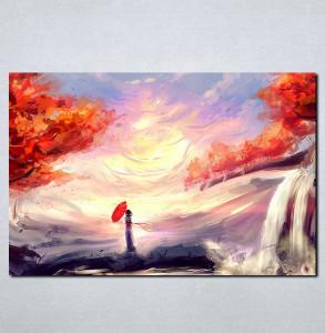 Slike na platnu Vodopad slika Nina080_P