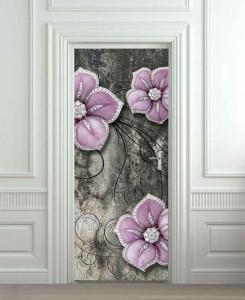 Nalepnica za vrata Ljubičasti cvetovi 6192