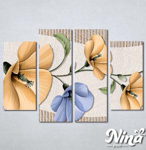 Slike na platnu Bež i plavi apstraktni cvet Nina293_4