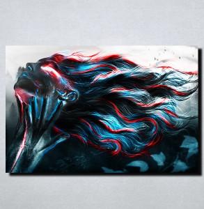 Slike na platnu Devojka duge kose Apstraktno Nina165_P