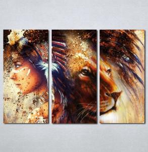 Slike na platnu Indijanka i lav Nina224_3