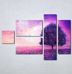 Slike na platnu Ljubičasto drvo i cveće Nina031_5
