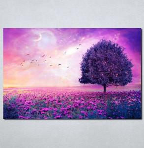 Slike na platnu Ljubičasto drvo i cveće Nina031_P