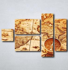 Slike na platnu Stara mapa sveta i kompas Nina163_5
