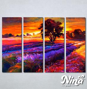 Slike na platnu Zalazak sunca i sarena poljana Nina239_4