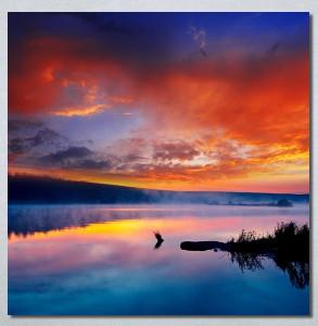 Slike na platnu Zalazak sunca na jezeru Nina30259