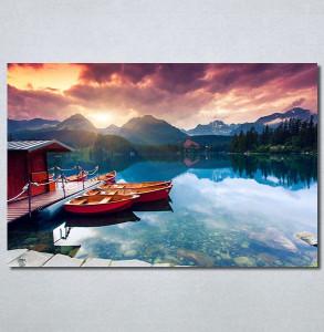 Slike na platnu Zalazak sunca na jezeru Nina30277_P