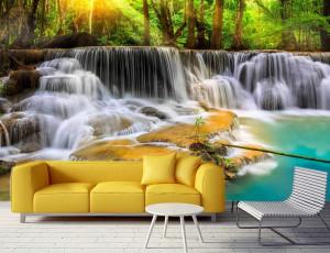 Foto tapeta Vodopad i tirkizno jezero Tapet053