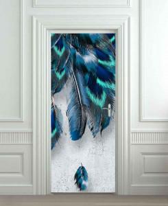 Nalepnica za vrata Plavo perje 6222