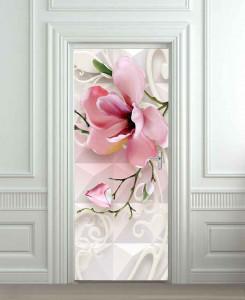 Nalepnica za vrata Ukrasni roze cvet 6193