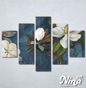 Slike na platnu Beli cvet na plavoj podlozi Nina337_5