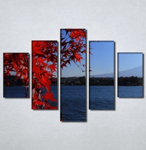 Slike na platnu Pogled na more kroz crveno lišće Nina30107_5