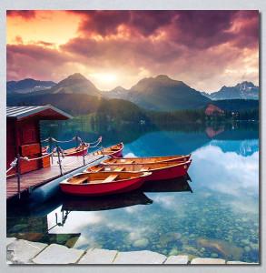 Slike na platnu Zalazak sunca na jezeru Nina30277