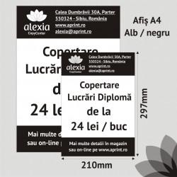Pachet 100 buc - Afis A4 Alb/Negru